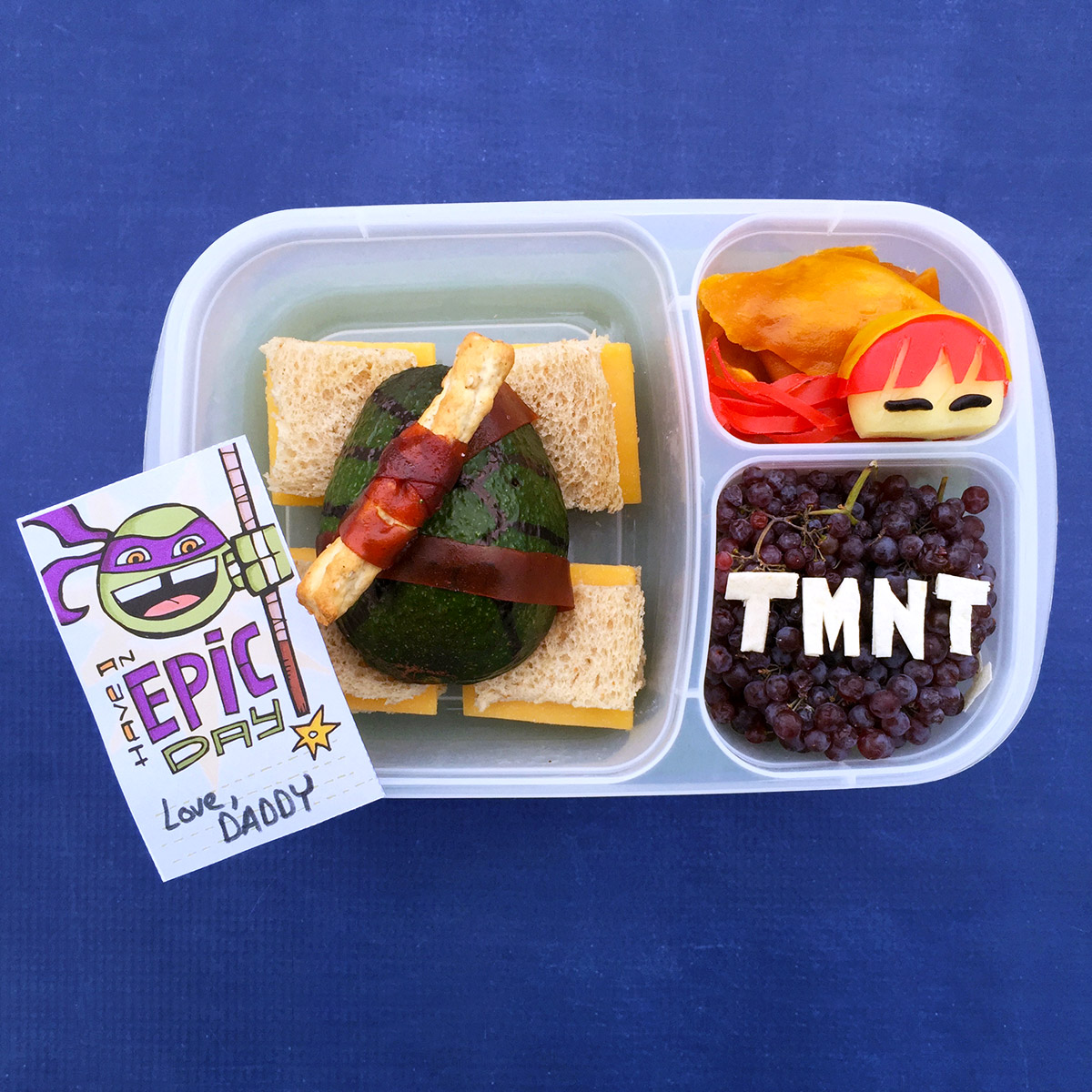 TMNT Bento-style Donnie and April Lunch Recipe