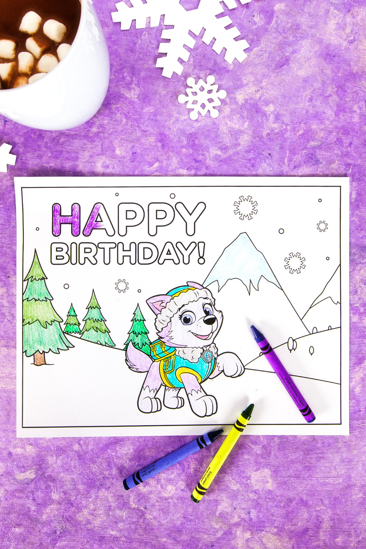Everest Birthday Party Coloring Page