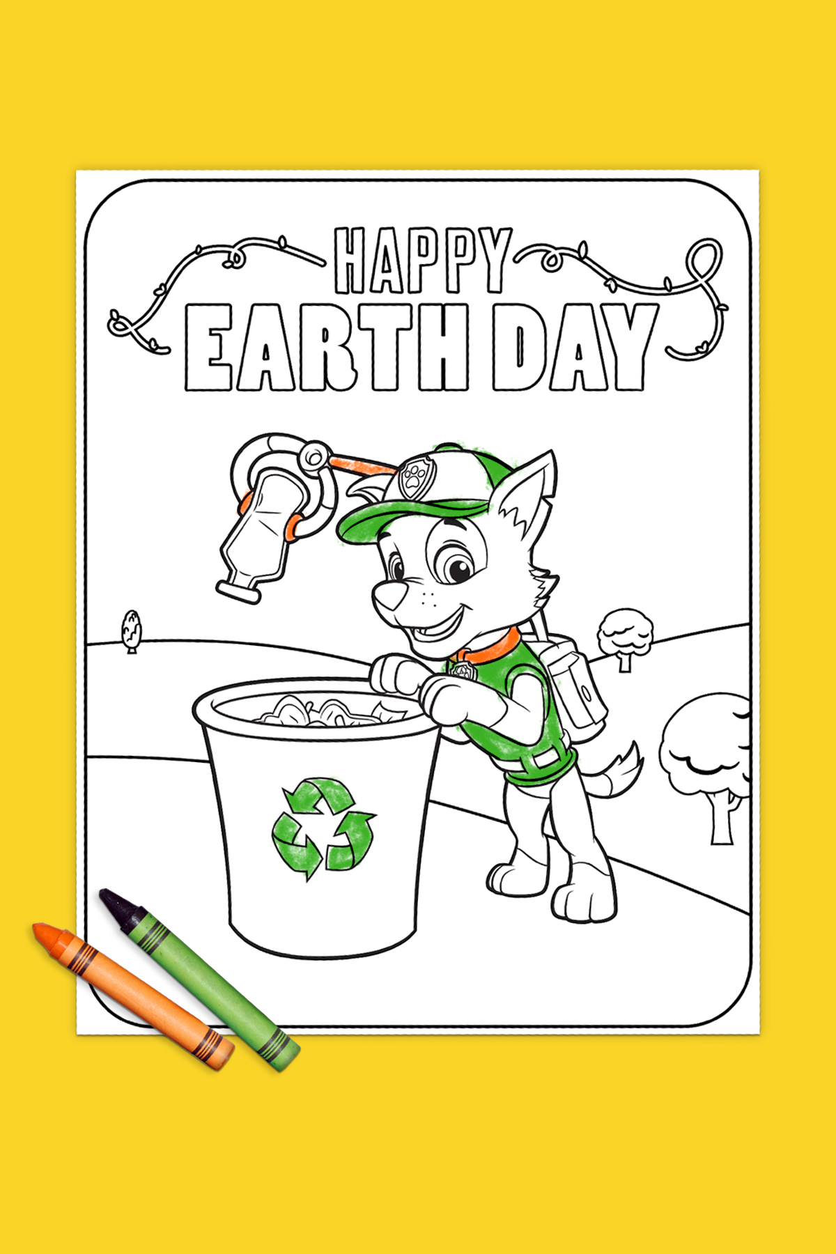 Earth Day Rocky Recycling Coloring Page